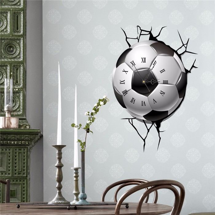Buy PAG STICKER 3D Wall Clock Decals Soccer Football Cracking Sticker Home Decor Gift