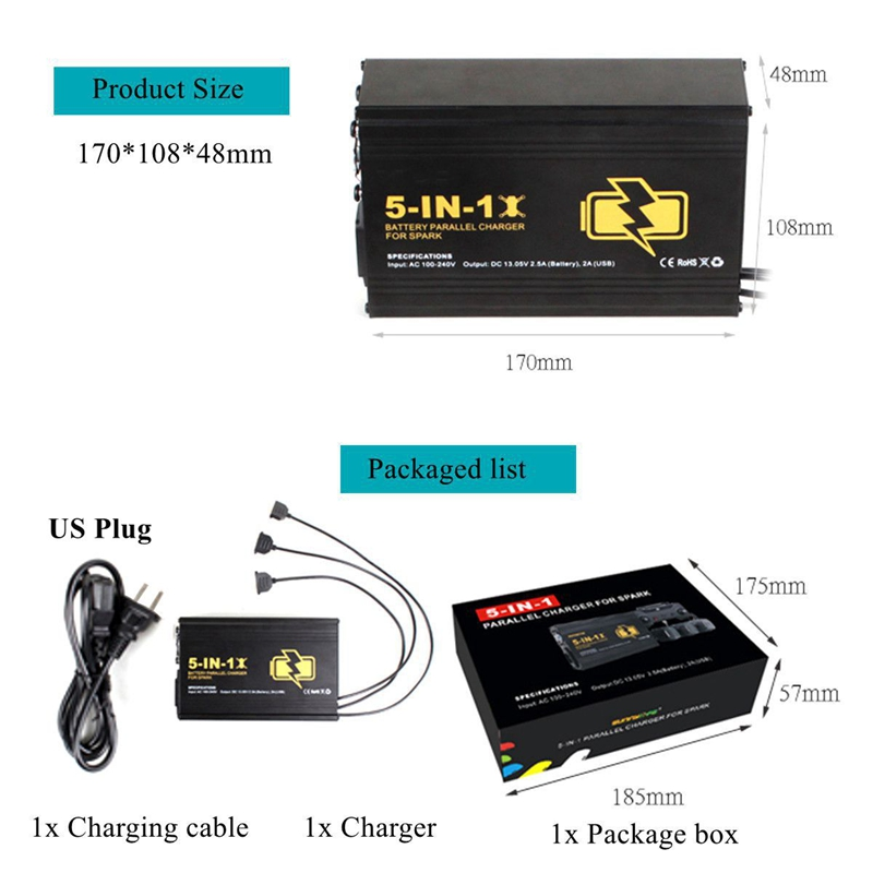 5 in 1 Multi Battery Charging Hub Battery Parallel Remote Controller Dual USB Charger for DJI SPARK - Photo: 7