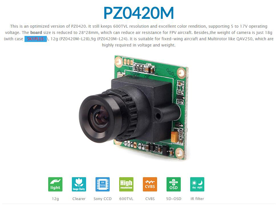 RunCam PZ0420M-L28 2.8mm 600TVL 86 Degree 1/3 CCD FPV Camera IR Block 5-17V NTSC PAL - Photo: 1