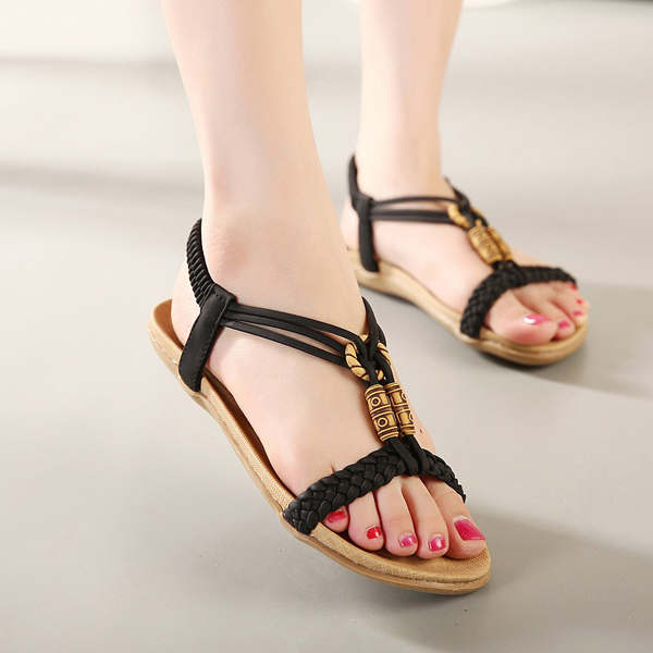 Big Size Women Summer Beaded Flat Sandals Shoes Open Toe Beach Flip Flops Slipper Sandals summer women sandals bohemia style high wedges heels wovens gladiator sandals with platform open toe casual shoes women h162 35
