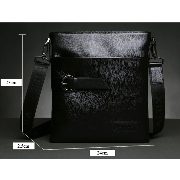 Men Genuine Leather 10inch Laptop Business Crossbody Bag Cowhide Crossbody Bag for IPad