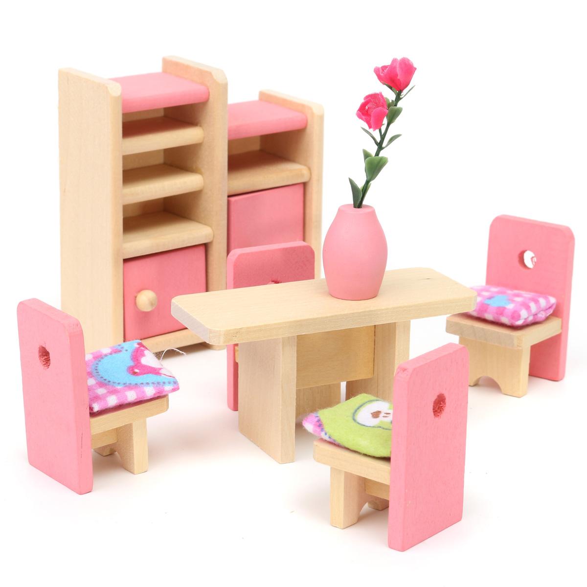 Wooden Doll Set Children Toys Miniature House Family Furniture Kit