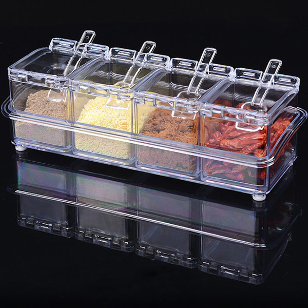 4pcs Transparent Seasoning Salt Jar Storage Box Kitchen Spice Sugar Storage Box Jar