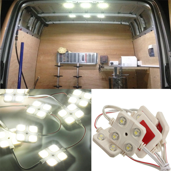 10 X Car 12V 4LED Interior Light Kit For LWB Van Lorries Sprinter Ducato Transit VW new 12 way blade fuse box holder with led warning light kit for automotive car marine boat 5a 10a 15a 20a free fuses led mar26