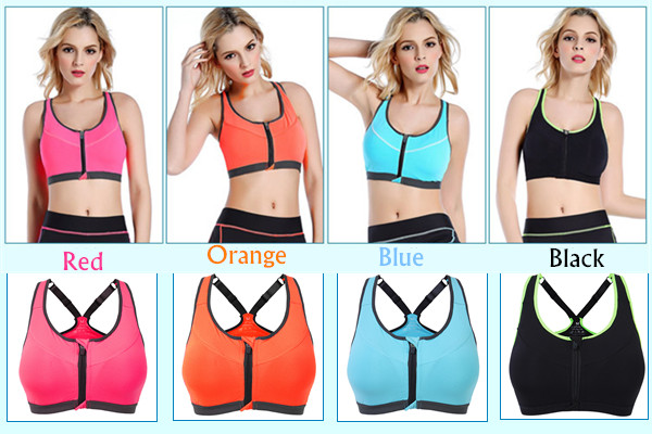 Women Professional Shakeproof Wire Free Sports Bra Front Zipper Push Up Fitness Yoga Running Top