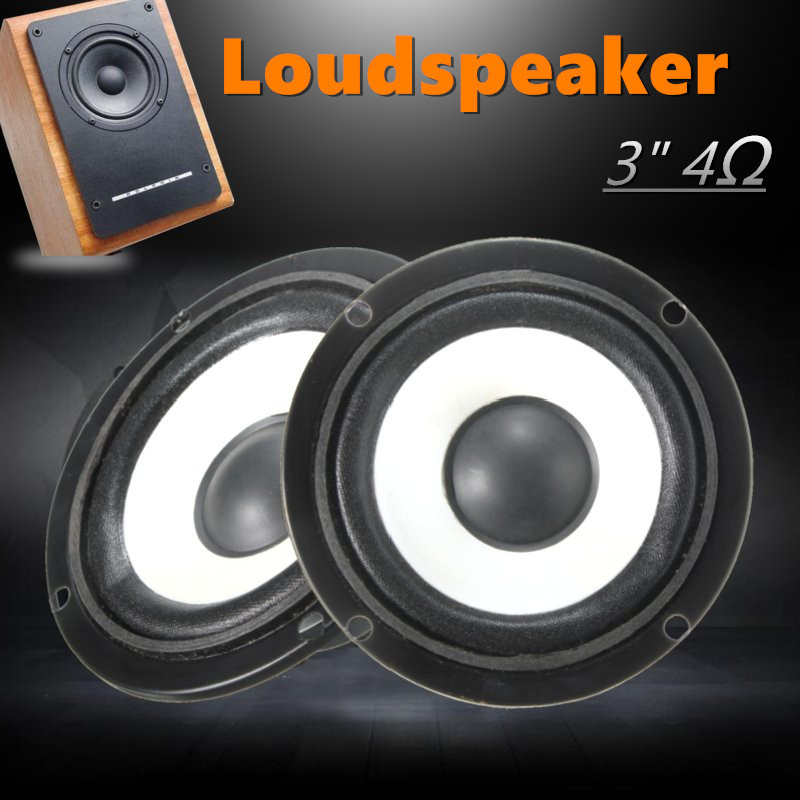 2pcs 3inch 4Ω Full Range Audio Speaker High/Bass Stereo Loudspeaker 10W 6 5 inch hi fi stereo woofer loudspeaker 4 ohms mid bass woofer speaker 35w bass audio speaker for diy speakers