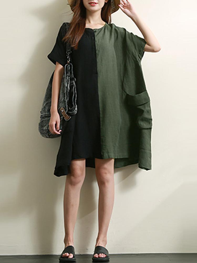 Casual Patchwork Loose Short Sleeve Women Dress