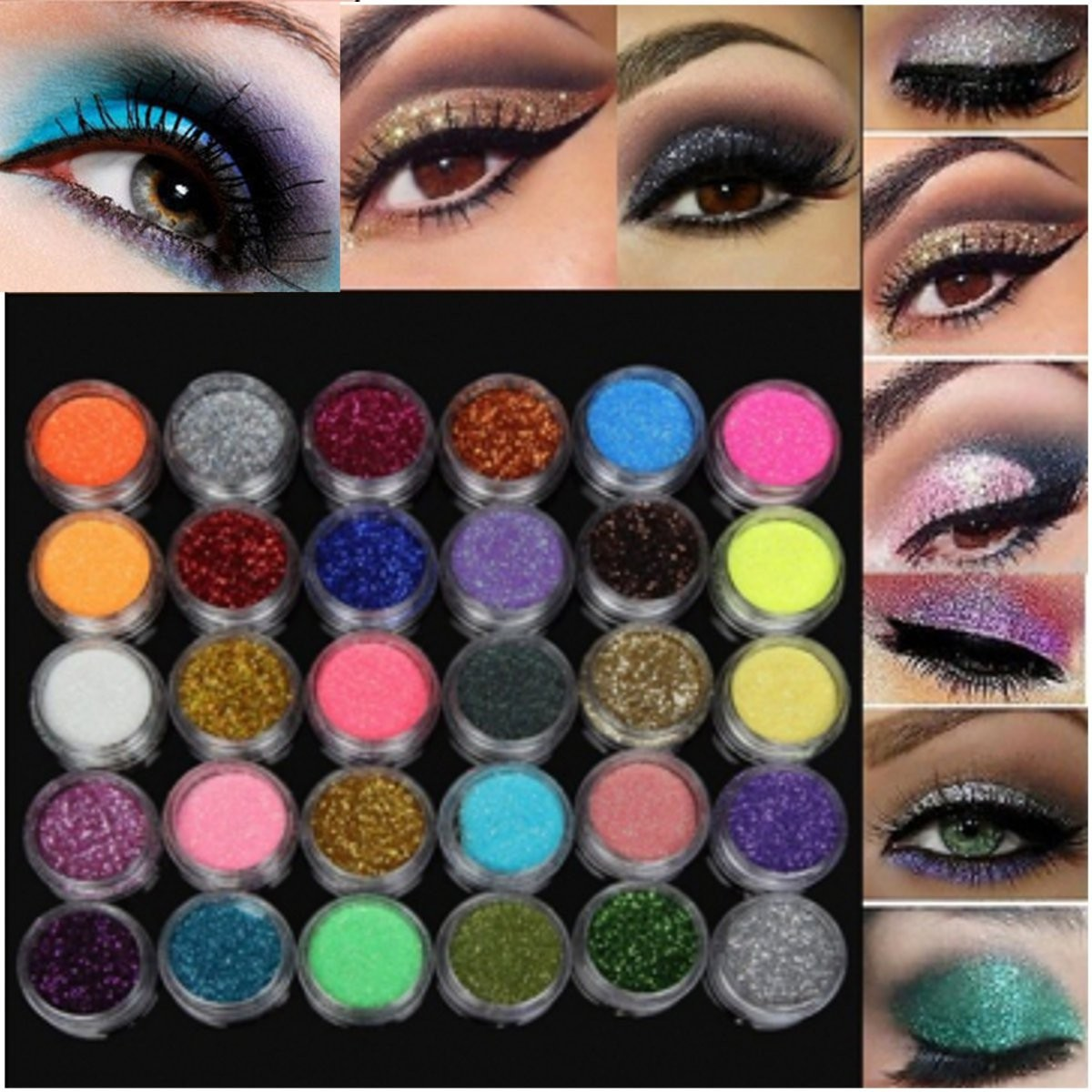 30 Colors 1 Set Glitter Spangle Eye Shadow Powder Pigment Kit Makeup Cosmetic Tool shadow of the flame