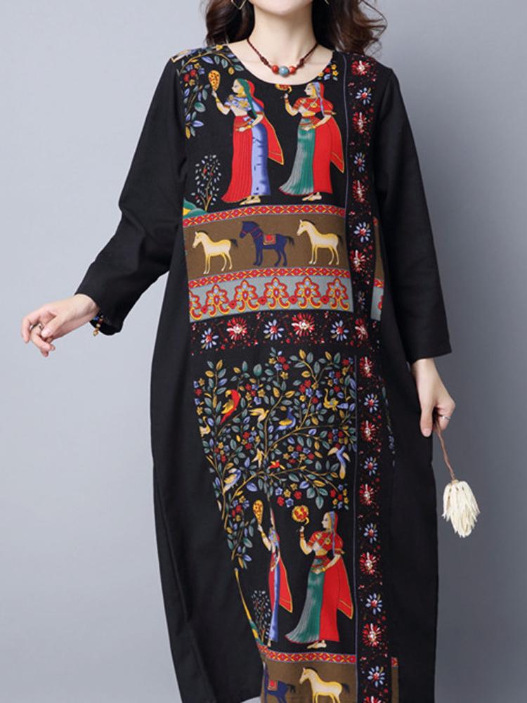 Vintage Robe Women Patchwork Print Long Sleeve Loose Maxi Dress