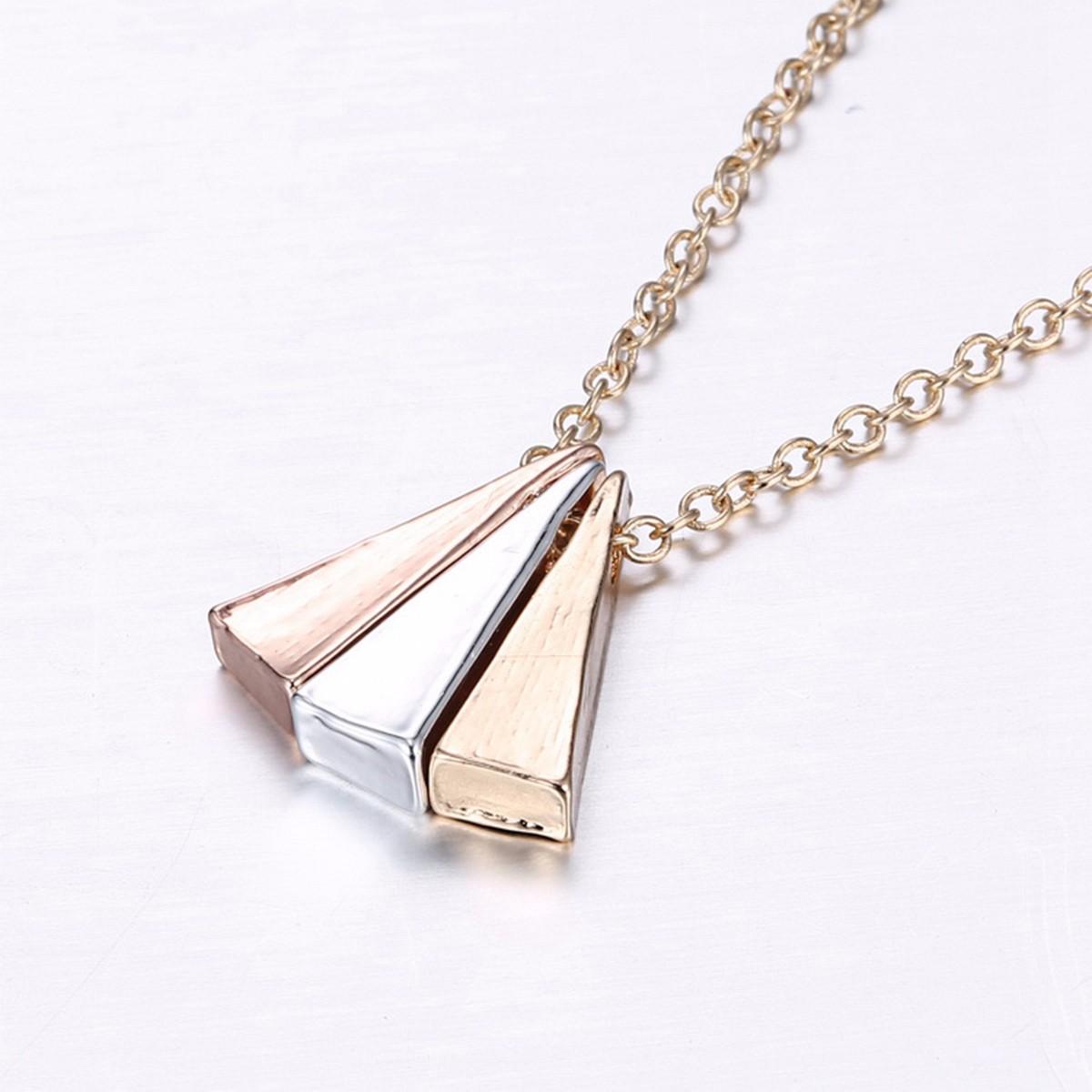 Triangle Geometric Love Arrow Letter Women Couple Necklaces Chain