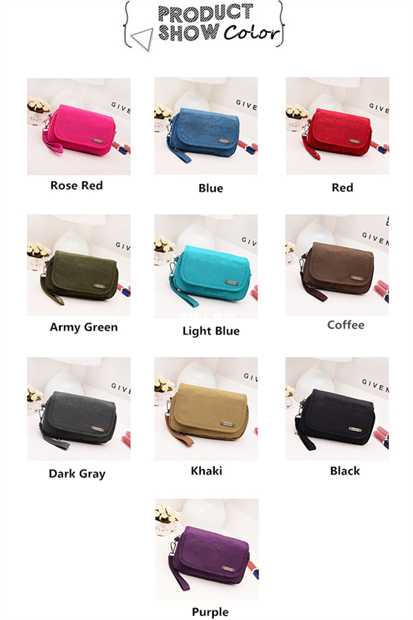 Women Nylon Daily Portable Crossbody Bag Card Key Holders Phone Bags Clutches For Iphone7/7P
