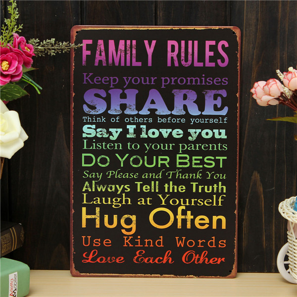 Family Rules Retro Metal Painting Sheet Metal Drawing Home Poster Sign Tin Wall Decor - EachinePaintings<br>Description: Family Rules Retro Metal Painting Sheet Metal Drawing Home Poster Sign Tin Wall Decor Specification: Pattern: Family Rules Material: Metal Size: 30 x 20cm / 12 x 8inch Package Includes: 1 x Family Rules Retro Metal Painting Sheet Metal Drawing<br>