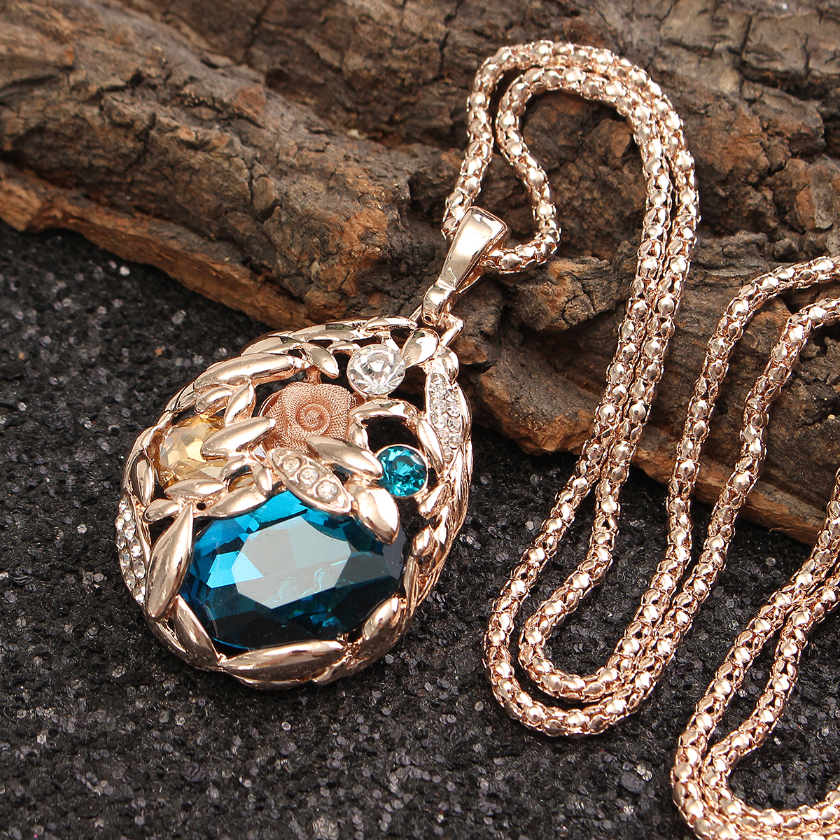 Sweater Long Chain Crystal Wheat National Wind Pendant Rose Gold Plated Necklaces