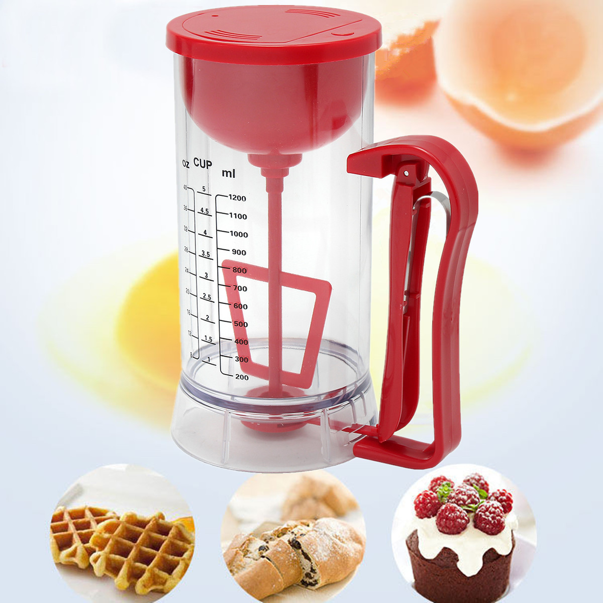 Cordless Electric Pan Cake Cup Cake Waffles Batter Mixer Dispenser Maker Machine 13