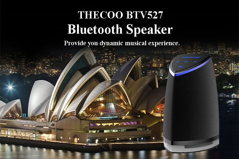 THECOO BTV527 NFC Touch Panel Hands-free Microphone AUX-in Anti-skid Bluetooth Speaker
