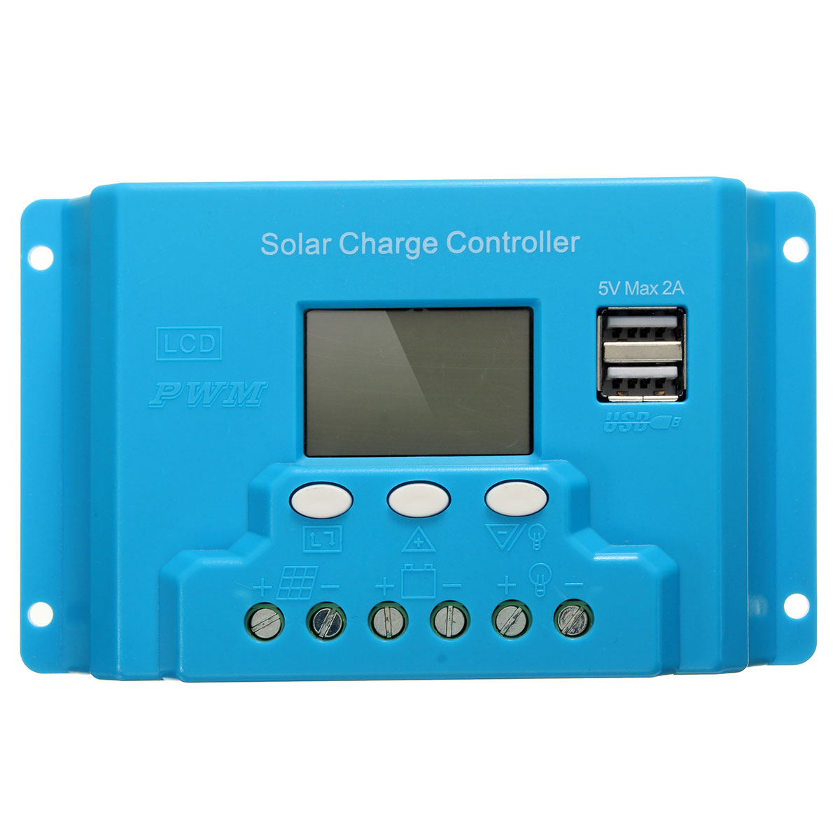 Фото 10A 20A 30A LCD PWM Solar Panel Charge Controller Battery Regulator 12V/24V with Dual USB