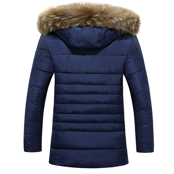 Mens Thick Warm Windproof Fur Hooded Padded Jacket Parkas
