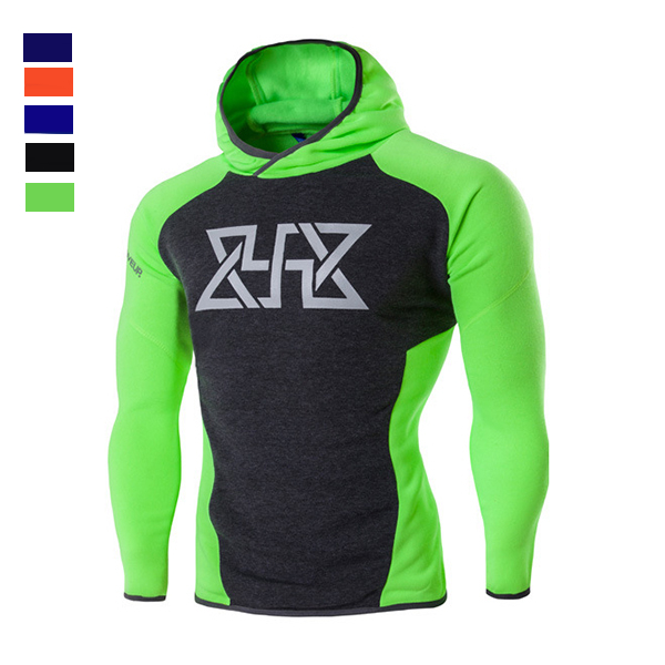 Mens Fitness Training Tight Sport Hoodies Causal Spell Color Running Sweatshirt
