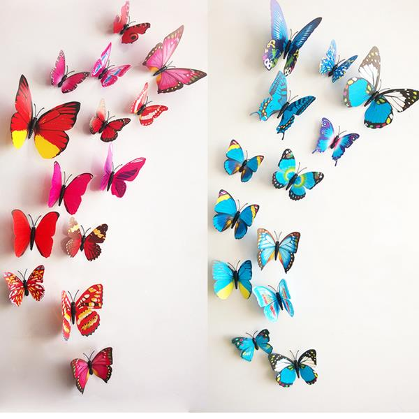 12Pcs 3D Stereoscopic Butterfly Wall Sticker Living Room Home Decoration Decal DIY Mural Wall Art (Eachine1) Amarillo объявления о продаже