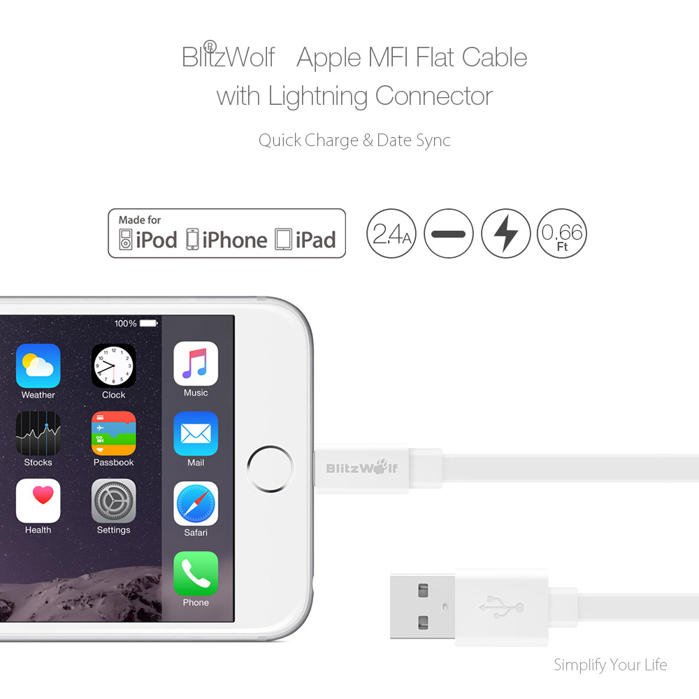 [Apple MFI Certified] BlitzWolf® BW-MF4 Lightning To USB TPE Data Short Cable 0.66ft/0.2m For iPhone 7 Xiaomi