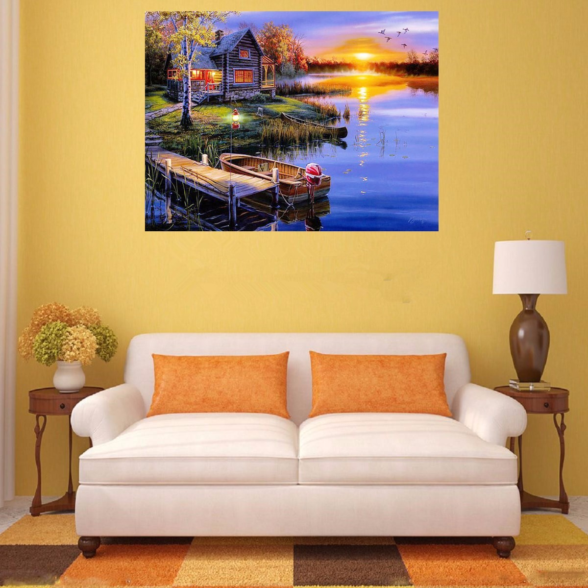 5D Diamond Painting DIY Lake&House Landscape Cross Stitch Home Decor