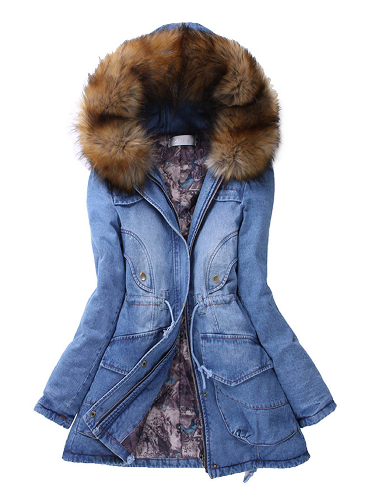 Women Detachable Fur Cuff Denim Hooded Coat Jacket