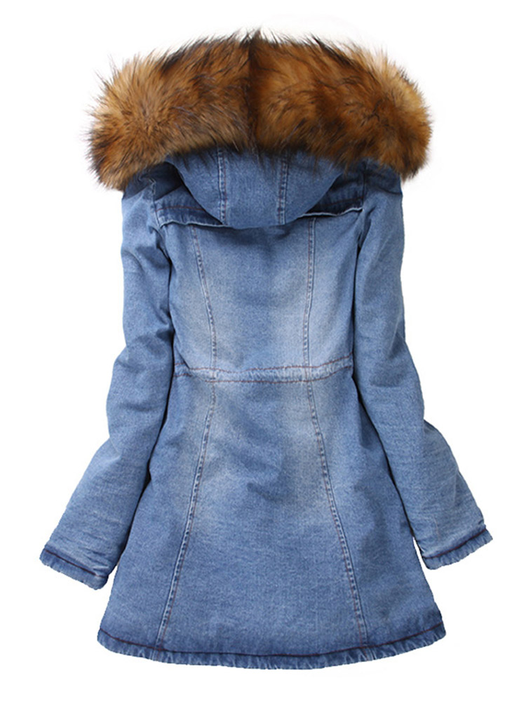 Women Denim Long Sleeve Hooded Coat Jacket