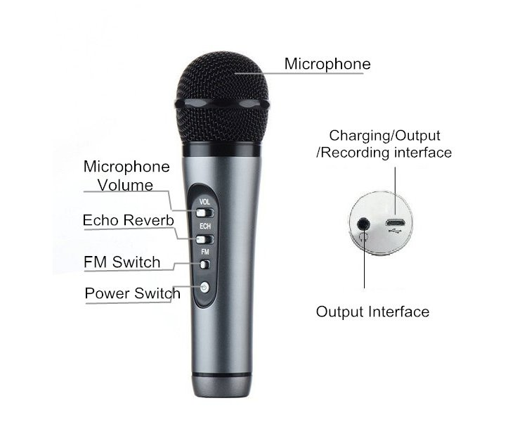 TUXUN KF301 Mini Handheld Karaoke Microphone FM Wireless Car Moving KTV Room For iPhone Smartphones