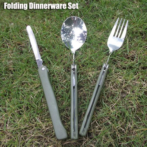 3 in1 Outdoor Folding Dinnerware Set BBQ Travel Camping Folding Knife Fork Spoon Utensils от Banggood INT