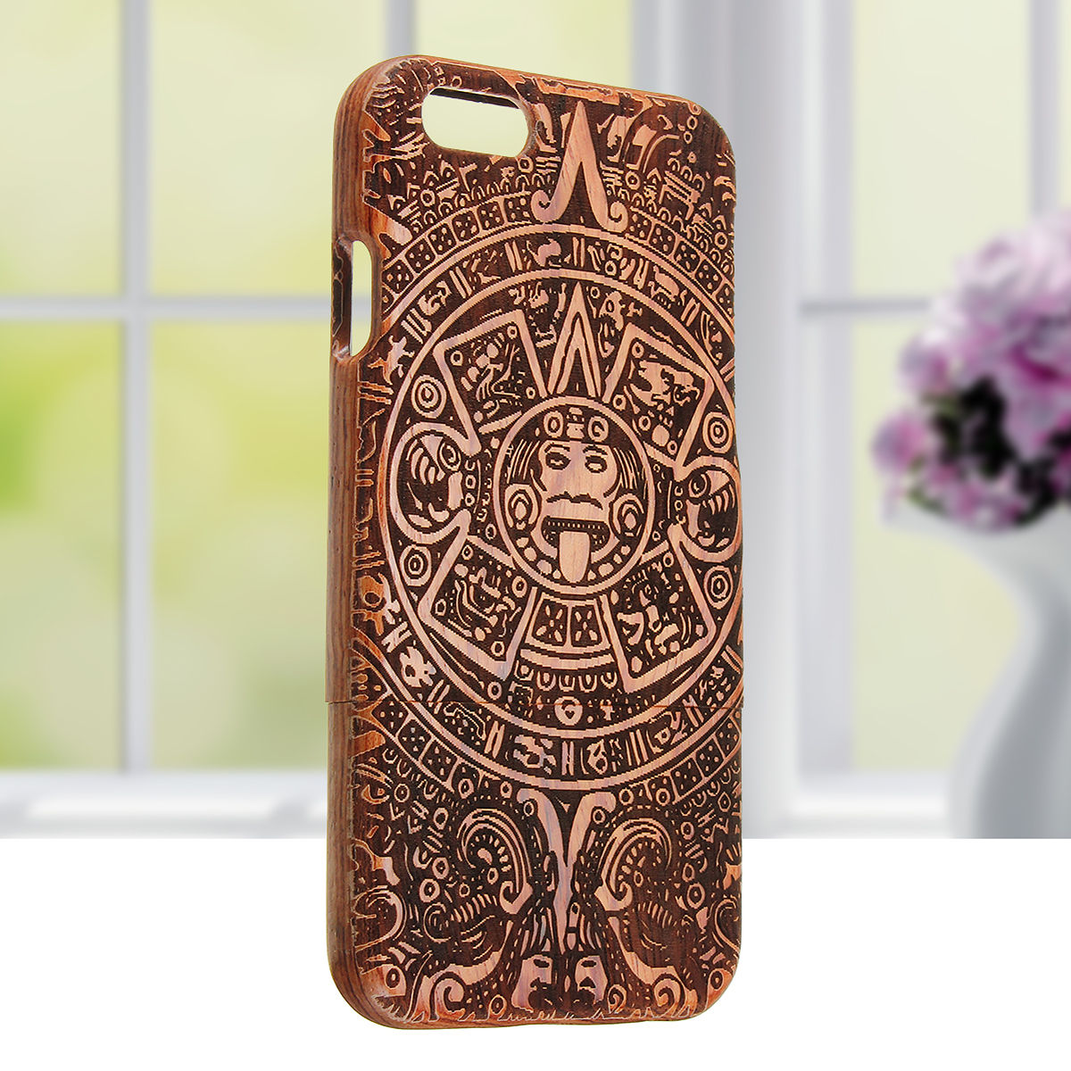 Retro Totem Carving Folk Custom Natural Wooden Bamboo  Cover Case For Apple iPhone 7 6 6S 4.7 Inch