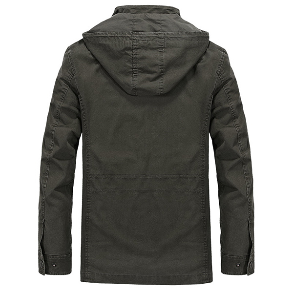 AFSJEEP Mens Large Size Stylish Casual Hooded Outdoor Cotton Jacket
