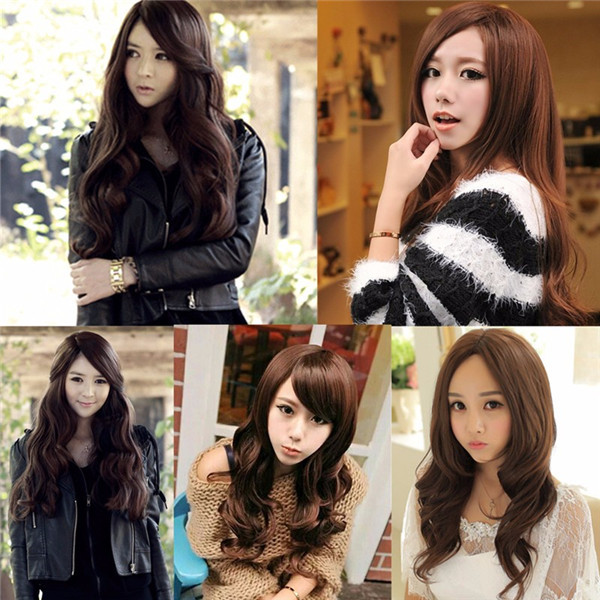 65cm Cosplay Wig Lady Long Wavy Hair Full Wigs Party 3 Colors free shipping cosplay womens long brazilian black straight natural remy wig hair old full wigs