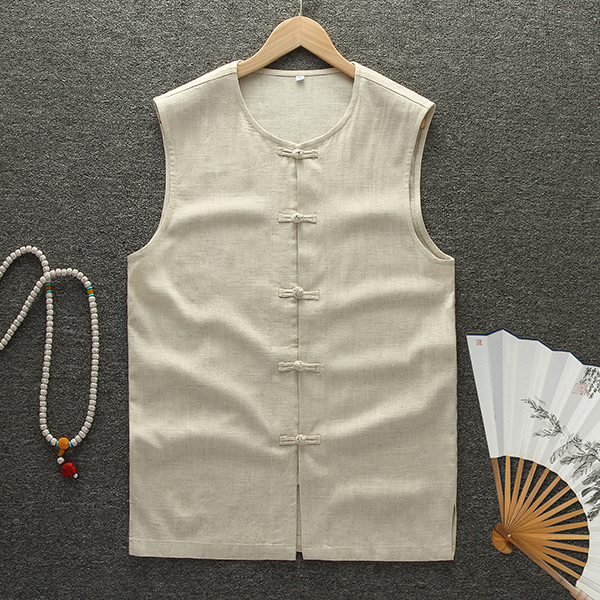 Summer Chinese Style Vintage Linen Casual Loose Breathable Sleeveless Vests Coat for Men