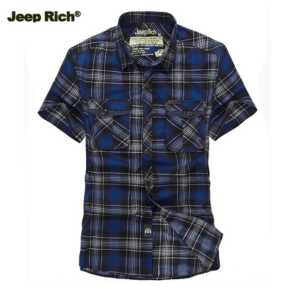 Jeep Rich Men Outdoor Summer Cotton Grid Casual Turn-down Collar Short Sleeve Shirt от Banggood INT