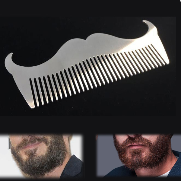 men 39 s stainless steel beard comb hair brush mustache trimming grooming maintain durable at banggood. Black Bedroom Furniture Sets. Home Design Ideas