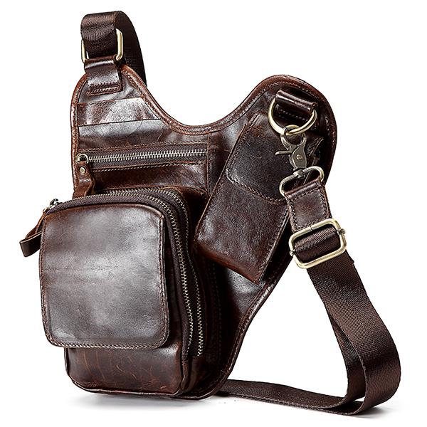 Men Genuine Lether Retro More Pockets Chest Bag Crossbody Bag