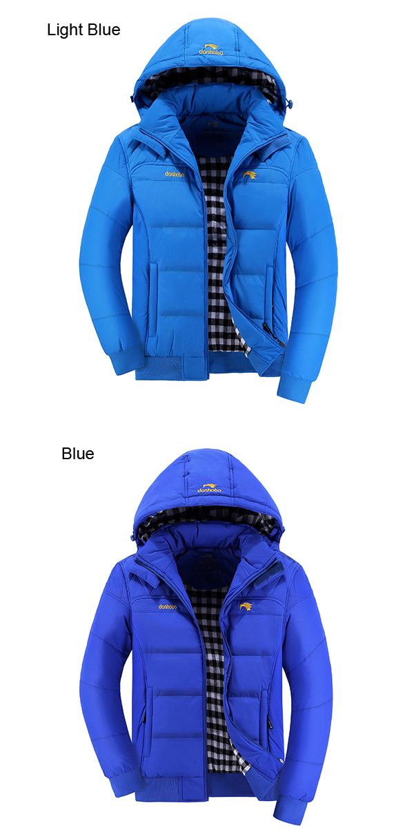 Mens Thick Hooded Solid Color Stand Collar Coat Fashion Casual Jacket 8 Colors