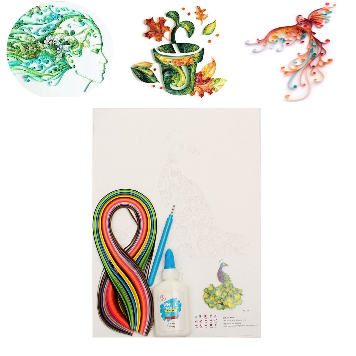 Diy strips quilling paper craft board creations mixed for How to use quilling strips