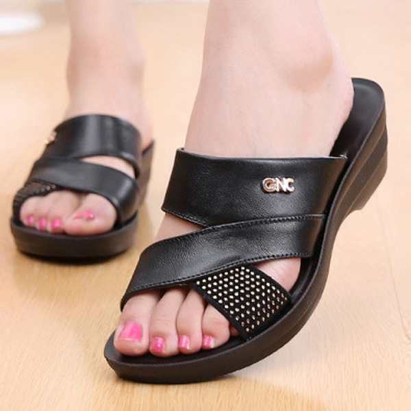 US Size 5-10 Women Summer Wedge Sandals Outdoor Soft Comfortable Leather Slipper Shoes
