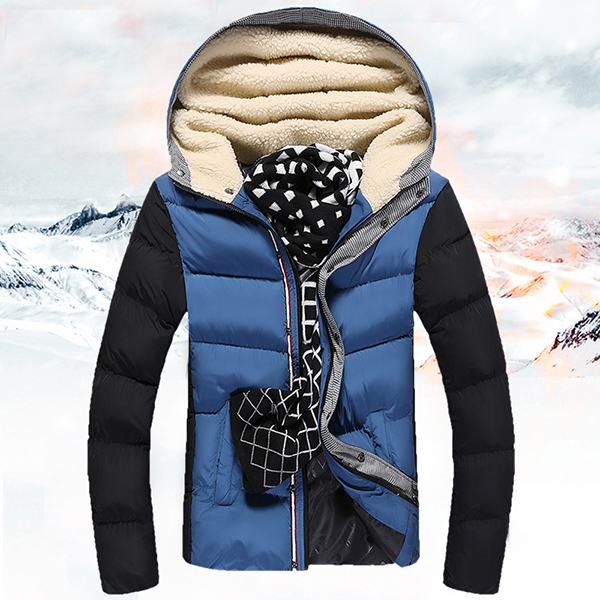 Buy Mens Fashion Contrast Color Stitching Hooded Jacket Thick Fleece Casual Winter Coat Big Size
