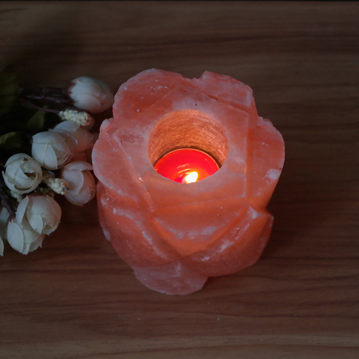Himalayan Salt Lamps And Candle Holders : Cylindrical Flower Shape Himalayan Natural Crystal Rock Salt Lamp Candle Holder Home Decor ...