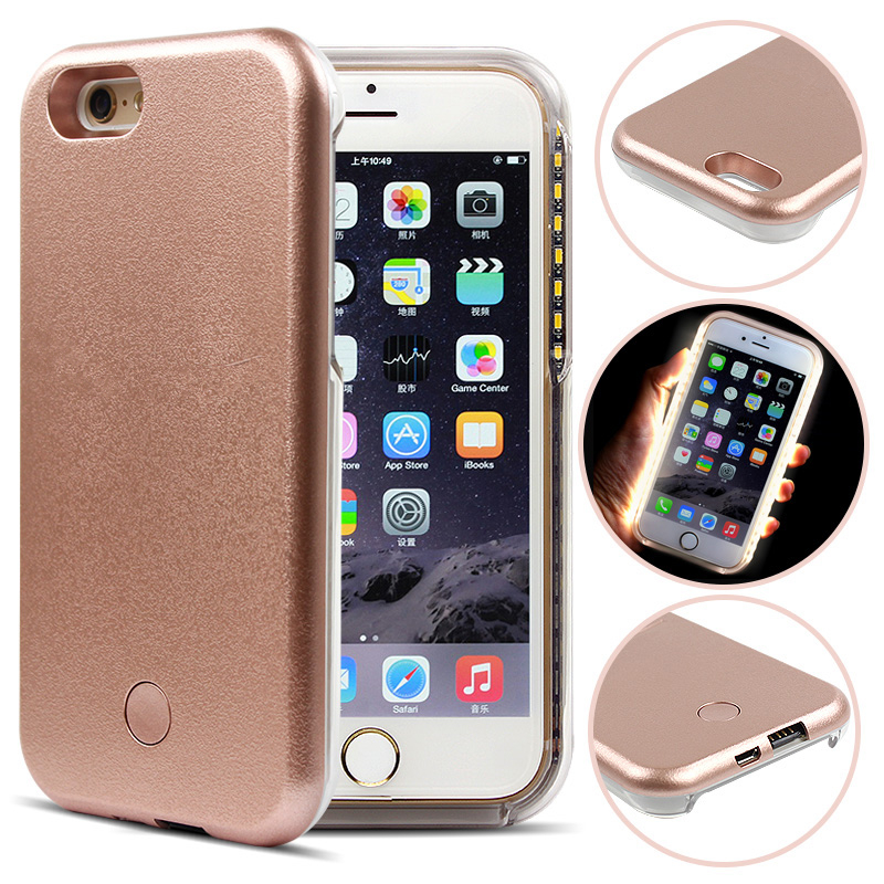 Flash Lamp Power Bank LED Light Selfie Cover Case For iPhone 6 Plus 6S Plus Apple 5.5