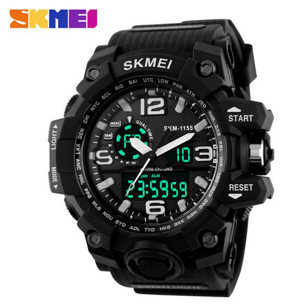 SKMEI 1155 Digital Analog Double Display Water Resistance Sport Men Wrist Watch skmei brand luxury full stainless steel waterproof analog display date stopwatch men s quartz watch business casual men watches