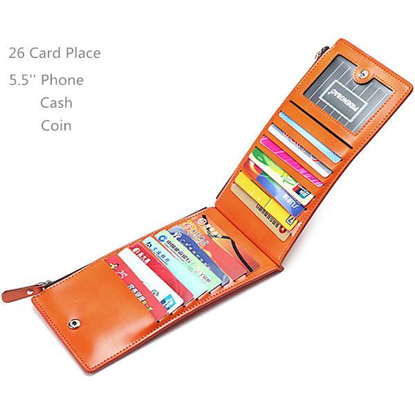 Waxy Ultrathin Leather 15 Card Holder Women Long Wallet Purse Men Multi-Card Holder Coin Bags