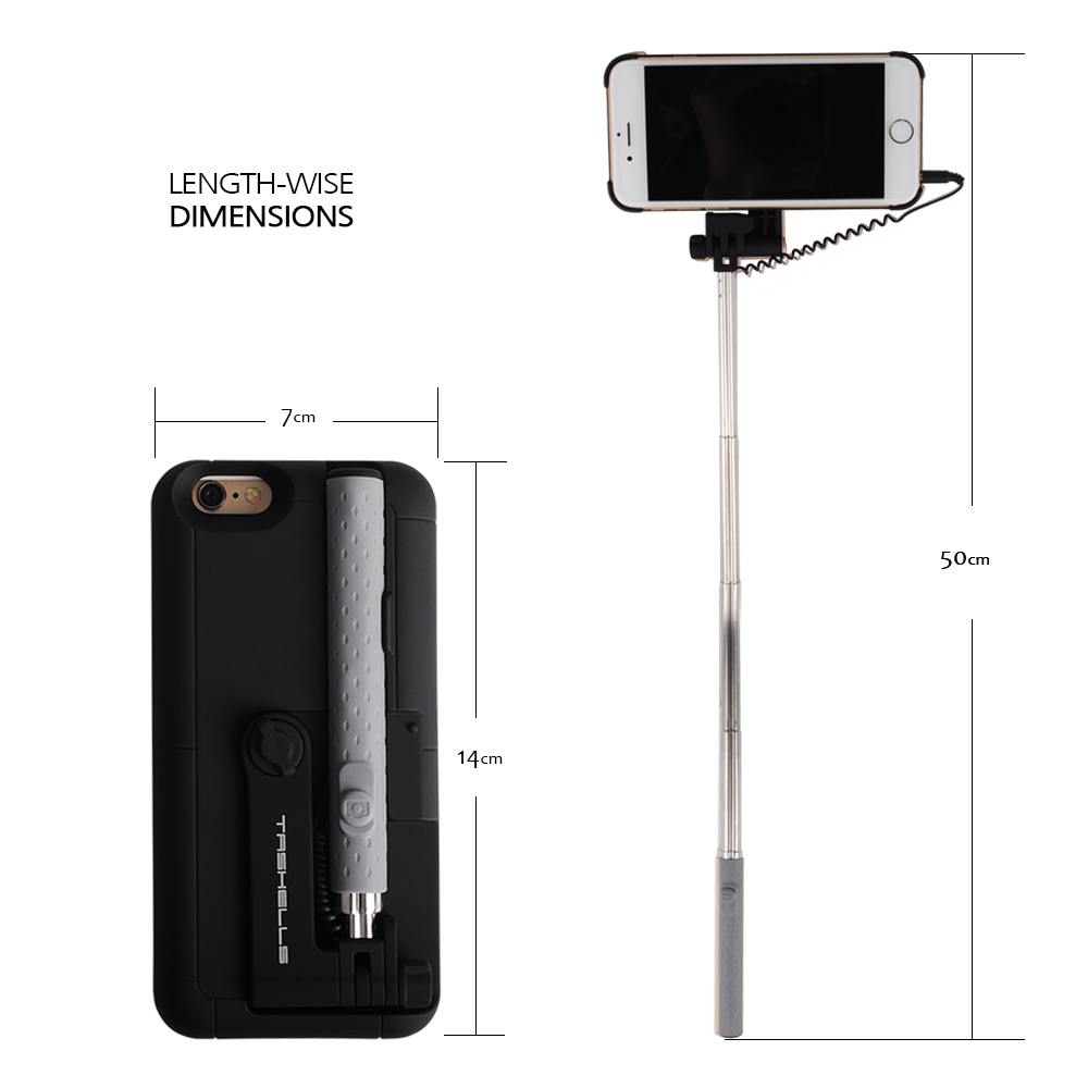 2 in 1 extendable monopod wired remote selfie stick case for iphone 6 6s al. Black Bedroom Furniture Sets. Home Design Ideas