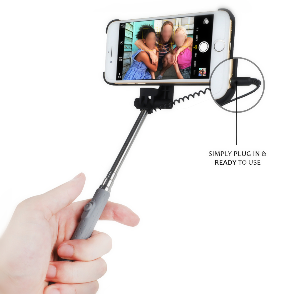 2 in 1 extendable monopod wired remote selfie stick case for iphone 6 6s alex nld. Black Bedroom Furniture Sets. Home Design Ideas