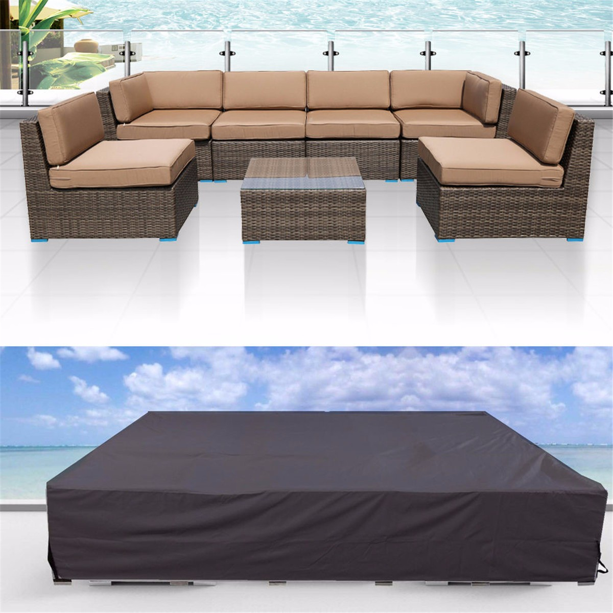 2 size black polyester pvc waterproof sofa couch table for Balkon sofa