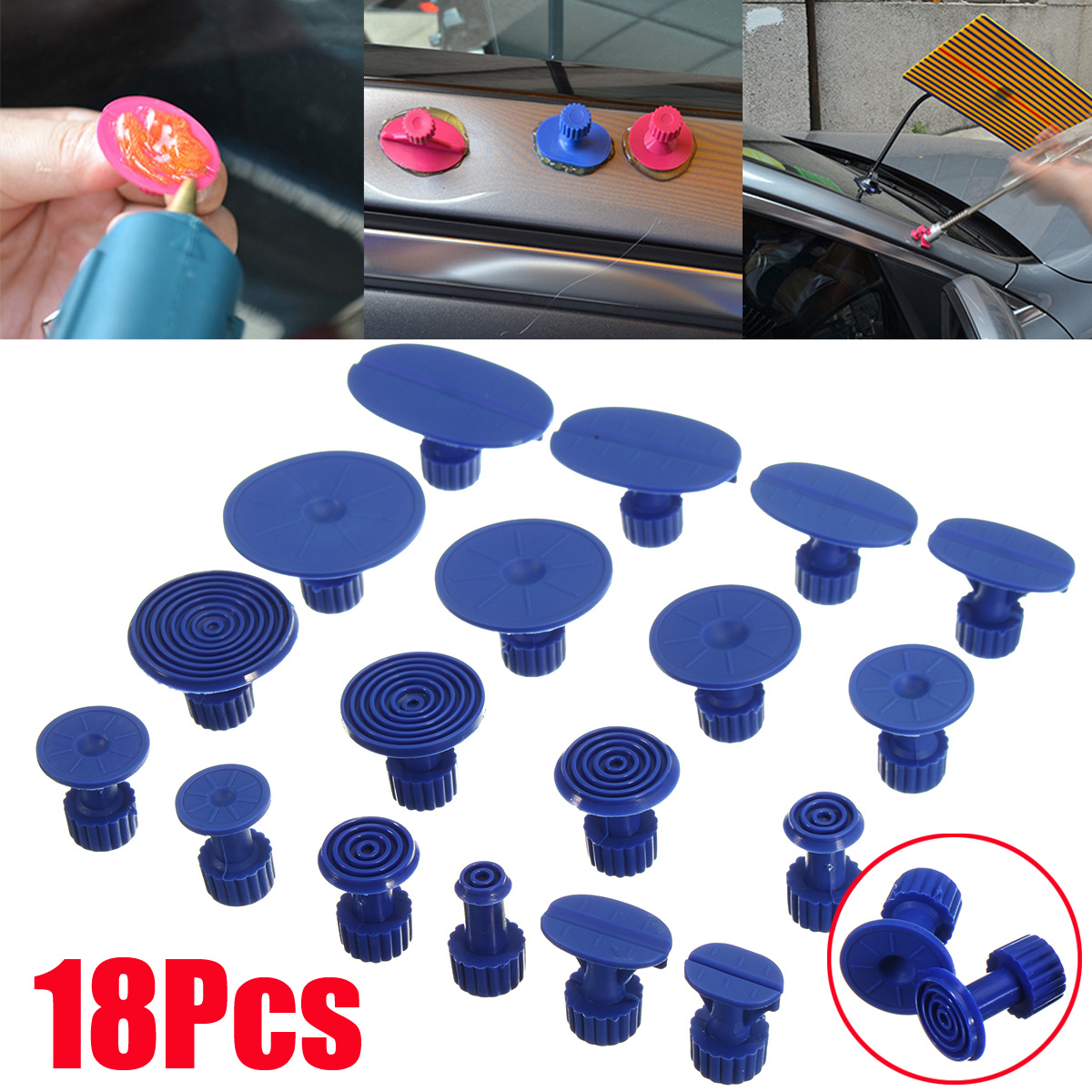 18PCS Paintless Dent Puller Lifter Body Glue Gun Repair Hail Removal pdr Tool Kit
