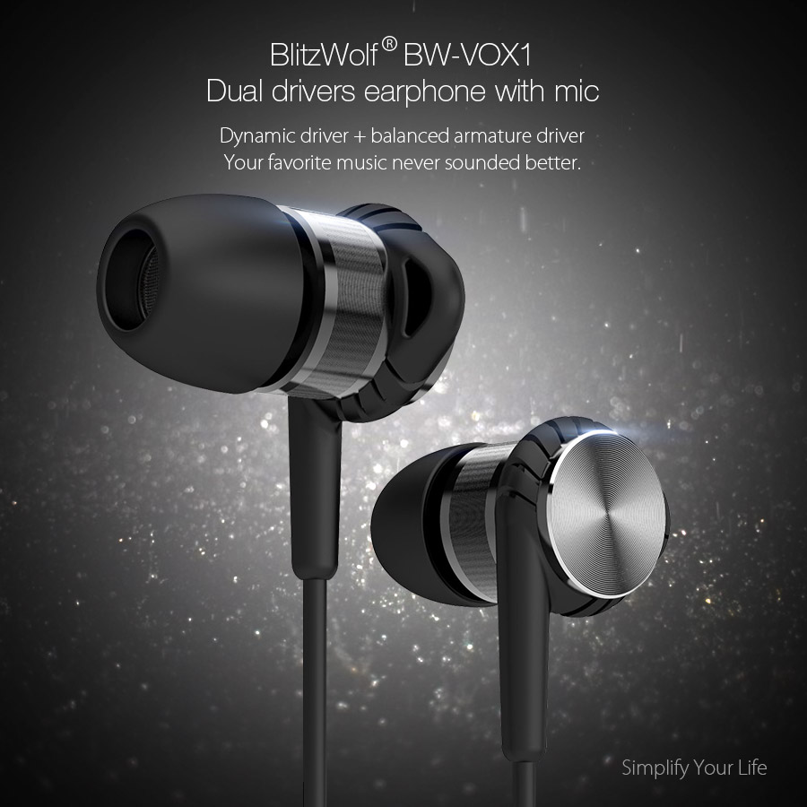 BlitzWolf BW-VOX1 Hybrid Drivers Dual Double Drivers Earphone Headphone With Mic