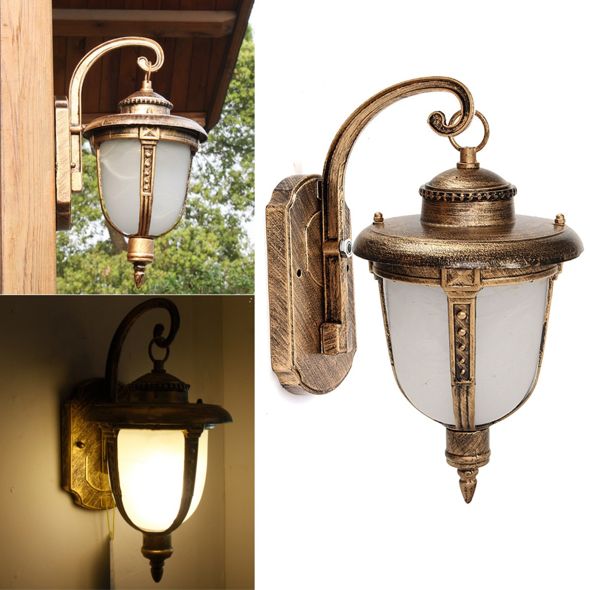 Outdoor porch lantern vintage wall light fixture aluminum for Vintage exterior light fixtures